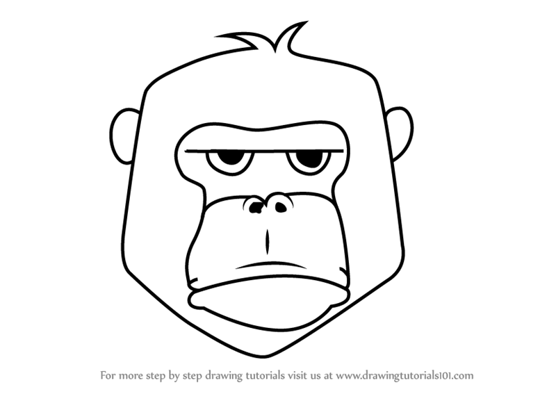Learn How to Draw a Gorilla Face for Kids (Animal Faces ...