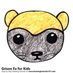 How to Draw a Grison Face for Kids
