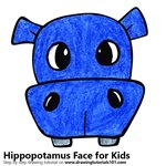 How to Draw a Hippopotamus Face for Kids
