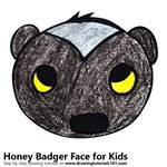 How to Draw a Honey Badger Face for Kids