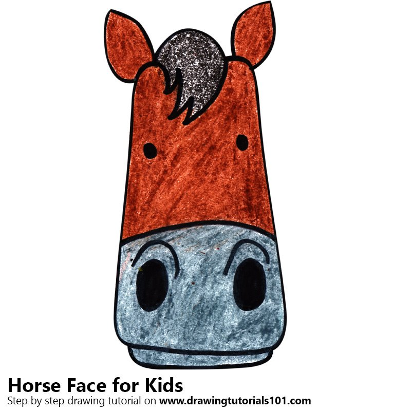 Learn How to Draw a Horse Face for Kids (Animal Faces for ...