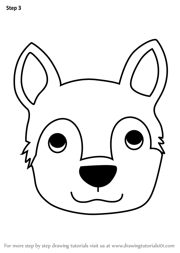 Learn How To Draw A Husky Dog Face For Kids Animal Faces For Kids