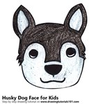 How to Draw a Husky Dog Face for Kids