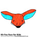 How to Draw a Kit Fox Face for Kids