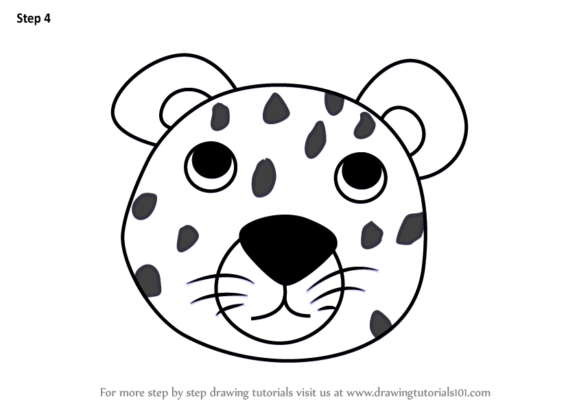 Learn How to Draw a Leopard Face for Kids (Animal Faces ...