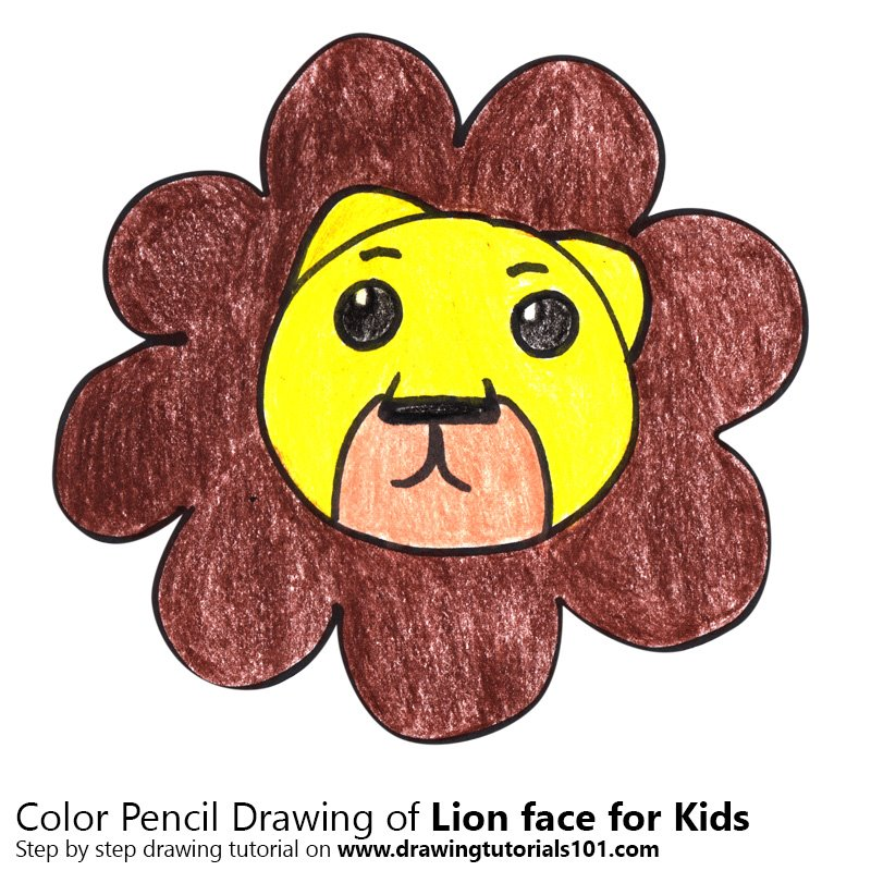 Lion Face for Kids Color Pencil Drawing