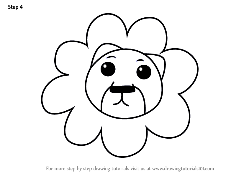 Learn How To Draw A Lion Face For Kids Animal Faces For Kids Step