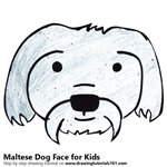 How to Draw a Maltese Dog Face for Kids