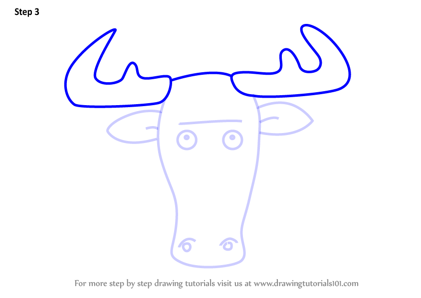 Learn how to draw a moose face for kids animal faces for kids step 3 thecheapjerseys Images