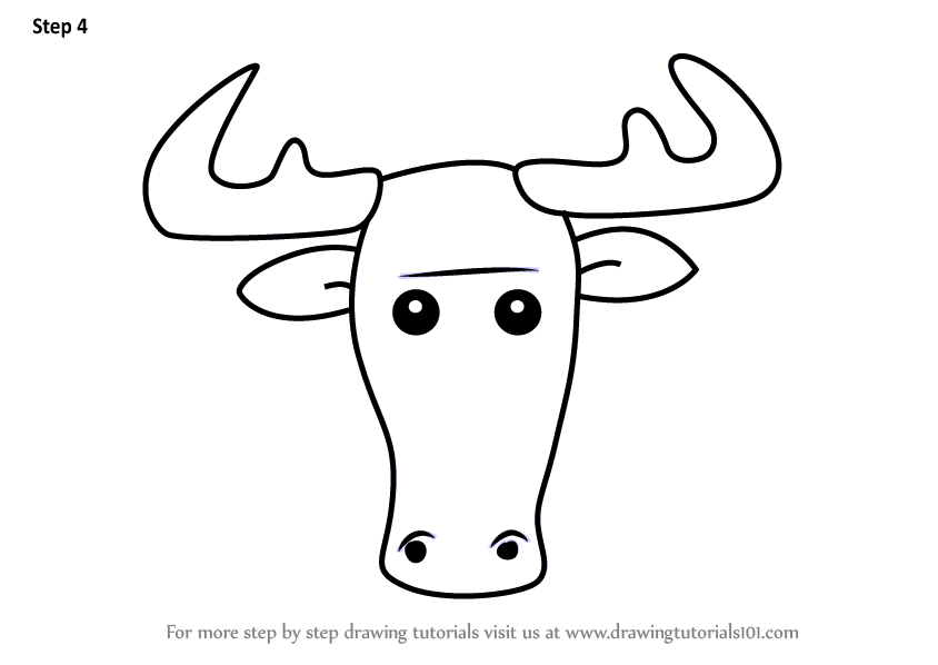 Learn how to draw a moose face for kids animal faces for for How to draw a moos