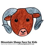 How to Draw a Mountain Sheep Face for Kids