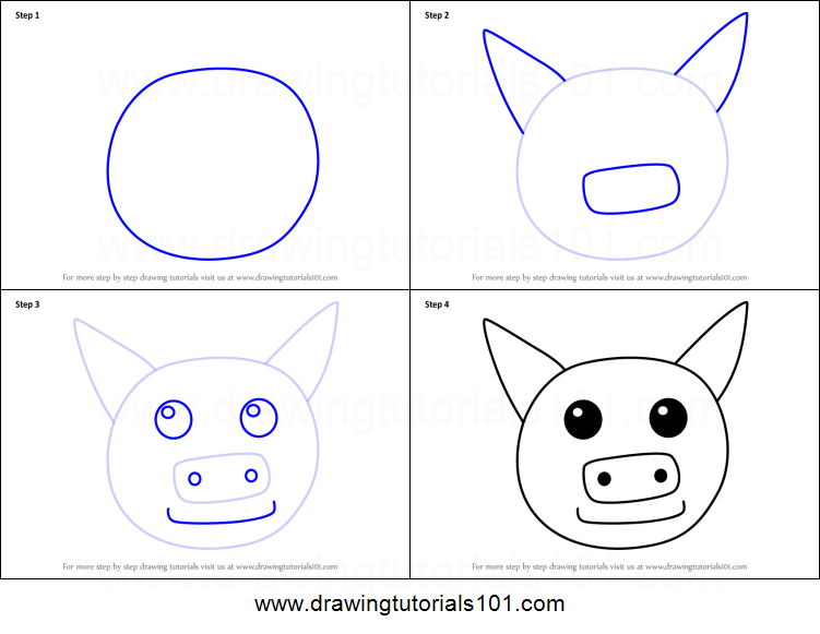 How To Draw A Pig Face For Kids Printable Step By Step Drawing Sheet