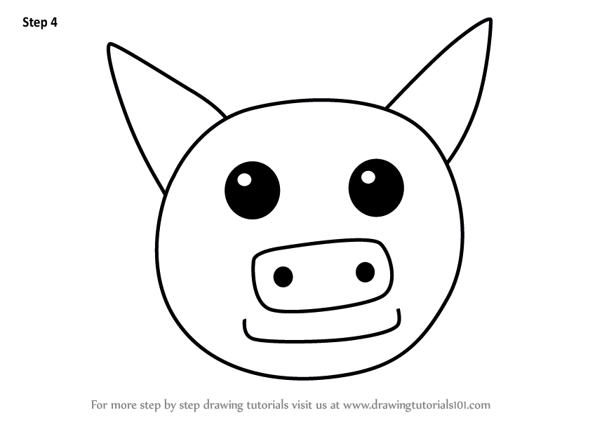 Learn How To Draw A Pig Face For Kids Animal Faces For Kids Step