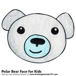 How to Draw a Polar Bear face for Kids