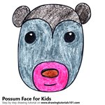 How to Draw a Possum Face for Kids