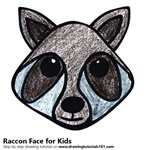 How to Draw a Raccon Face for Kids