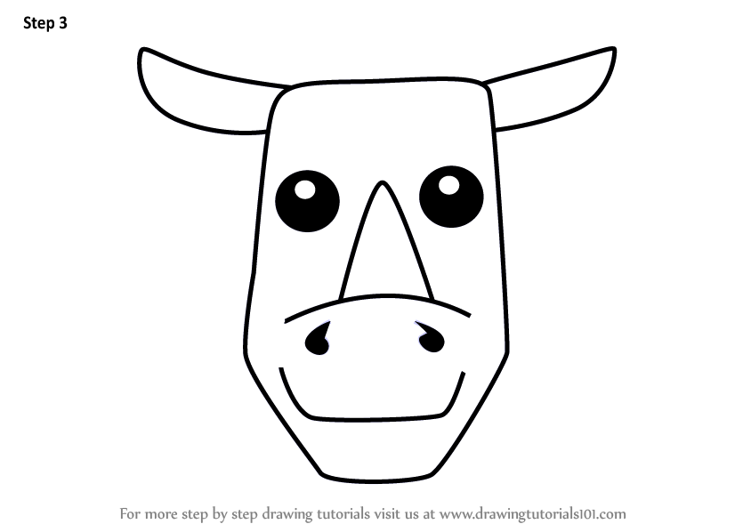 Learn How To Draw A Rhinoceros Face For Kids Animal Faces For Kids