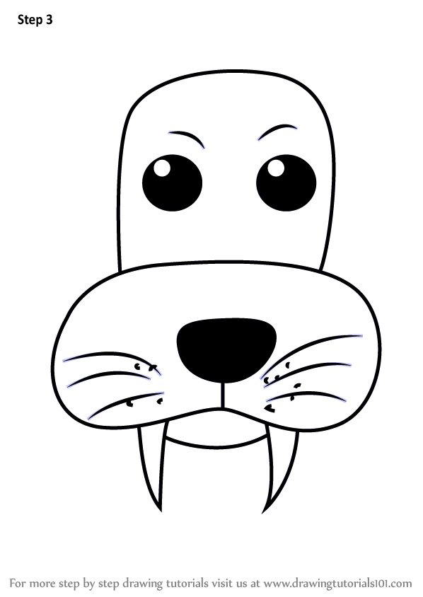 Learn How To Draw A Sea Lion Face For Kids Animal Faces For Kids