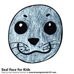 How to Draw a Seal Face for Kids