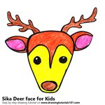 How to Draw a Sika Deer Face for Kids