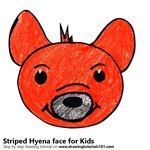 How to Draw a Striped Hyena Face for Kids