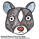 How to Draw a Striped Polecat Face for Kids
