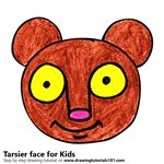 How to Draw a Tarsier Face for Kids