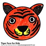 How to Draw a Tiger Face for Kids
