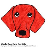 How to Draw a Vizsla Dog Face for Kids