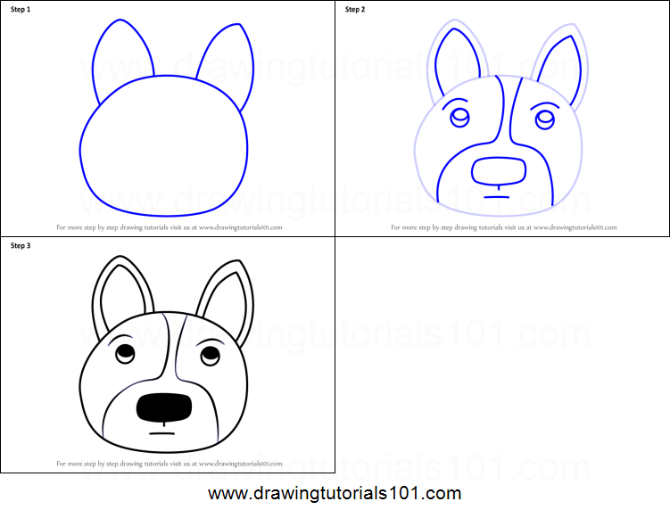 How To Draw A Welsh Corgi Dog Face For Kids Printable Step By Step