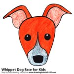 How to Draw a Whippet Dog Face for Kids