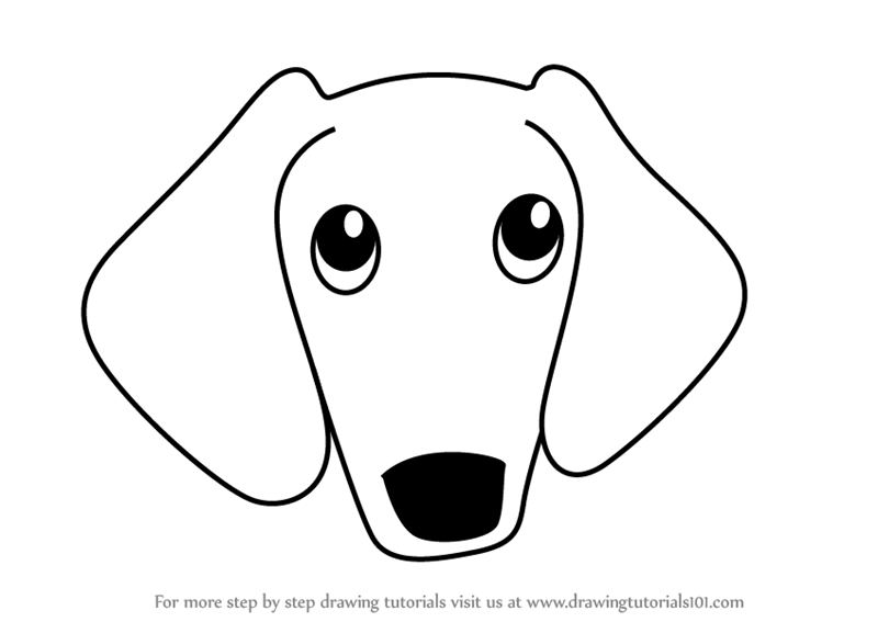 Learn How to Draw a Wiener Dog Face for Kids (Animal Faces ...