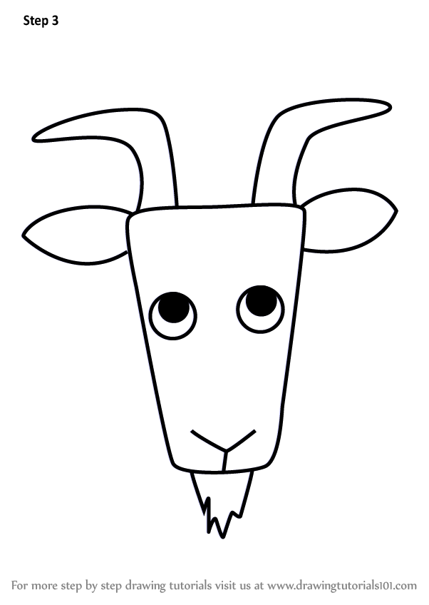 Learn How to Draw a Wild Goat Face for Kids (Animal Faces