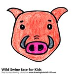 How to Draw a Wild Swine Face for Kids