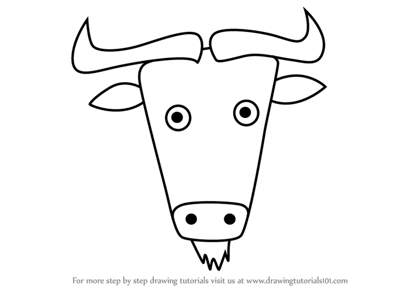 Learn How To Draw A Wildebeest Face For Kids Animal Faces For Kids Step By Step Drawing