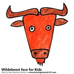 How to Draw a Wildebeest Face for Kids