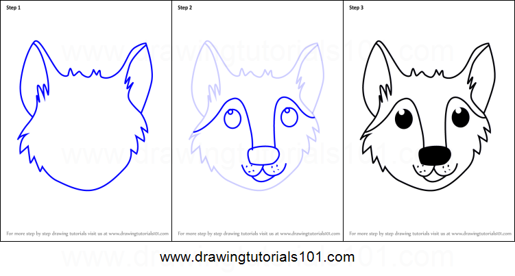How to draw a wolf face for kids printable step by step drawing sheet drawingtutorials101 com
