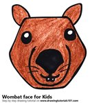 How to Draw a Wombat face for Kids