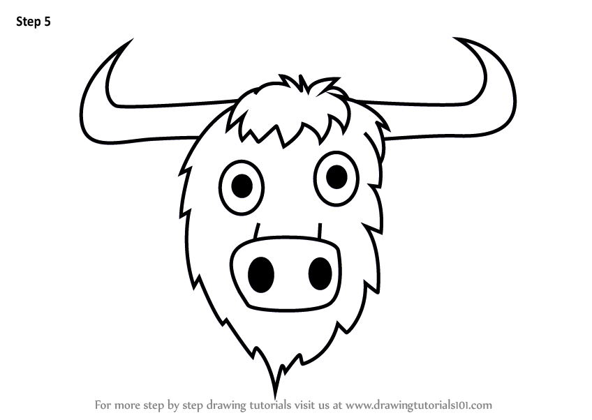 Learn How To Draw A Yak Face For Kids Animal Faces For Kids Step