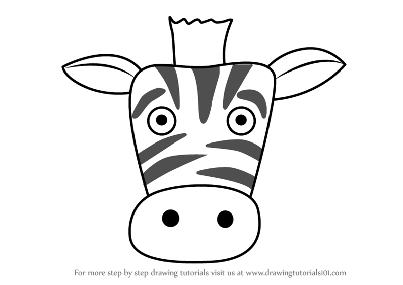 Learn How to Draw a Zebra Face for Kids (Animal Faces for ...