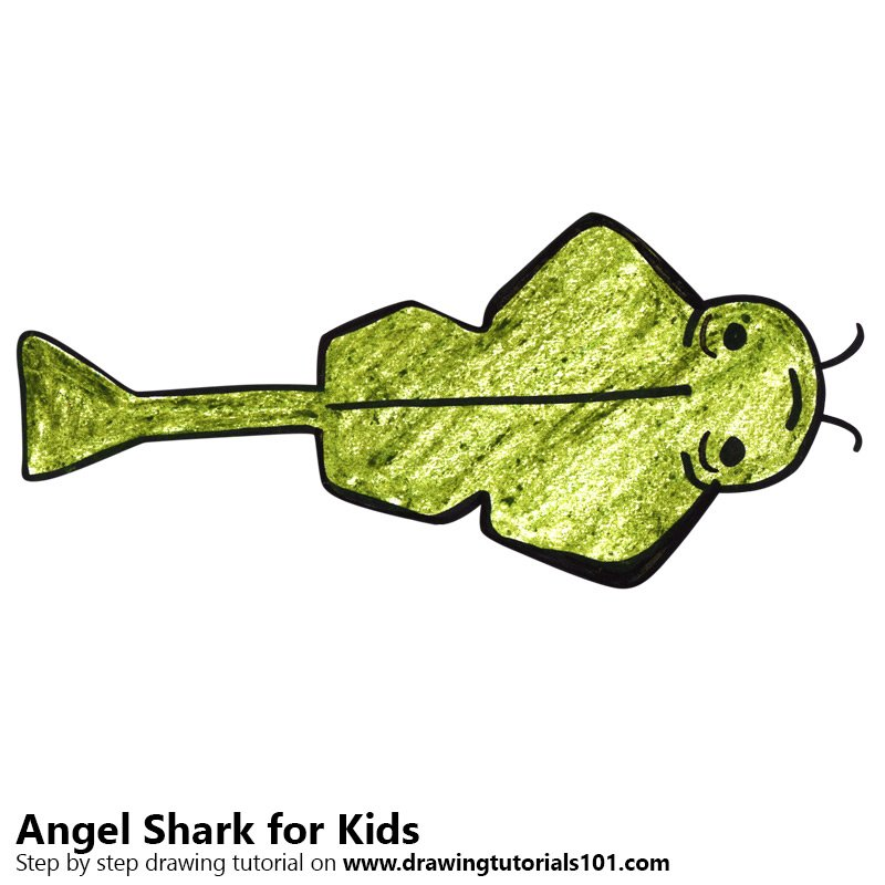 Learn How To Draw An Angel Shark For Kids Animals For Kids Step By