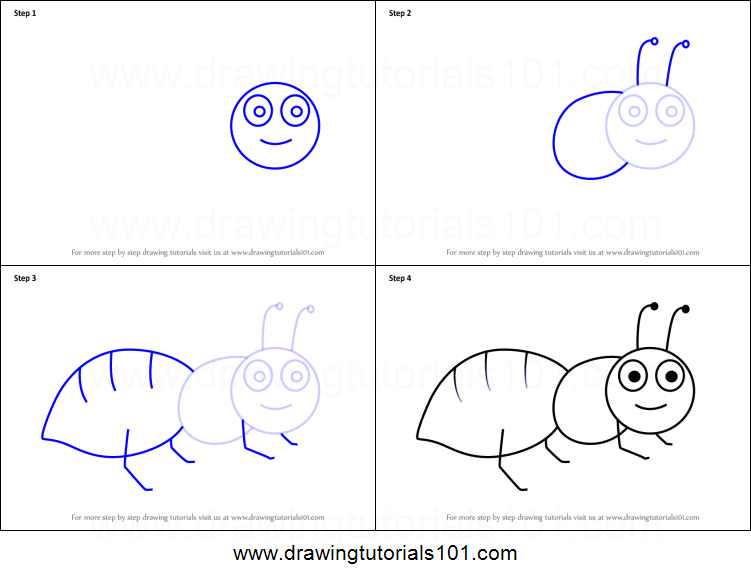 How To Draw An Ant For Kids Printable Step By Step Drawing Sheet