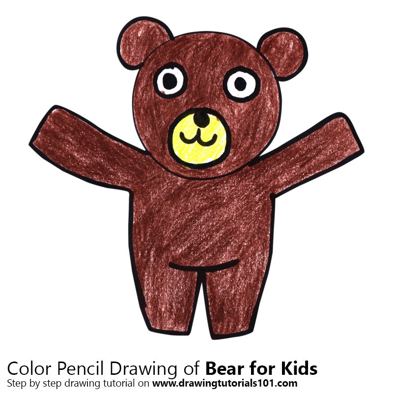 Bear for Kids Color Pencil Drawing