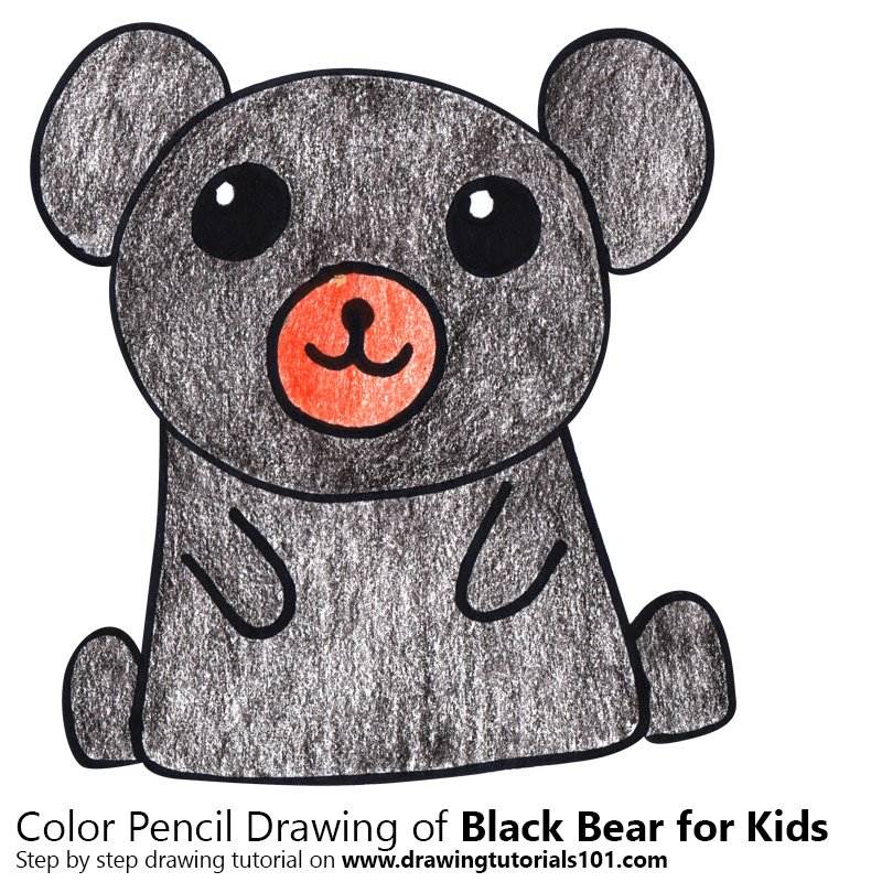 Learn How To Draw A Black Bear For Kids (Animals For Kids) Step By Step :  Drawing Tutorials