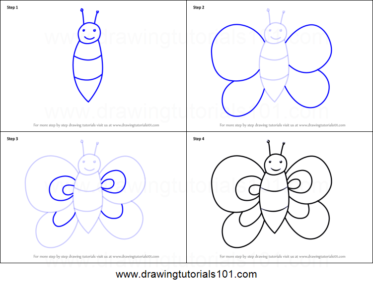 how to draw a butterfly for kids printable step by step drawing sheet drawingtutorials101 com