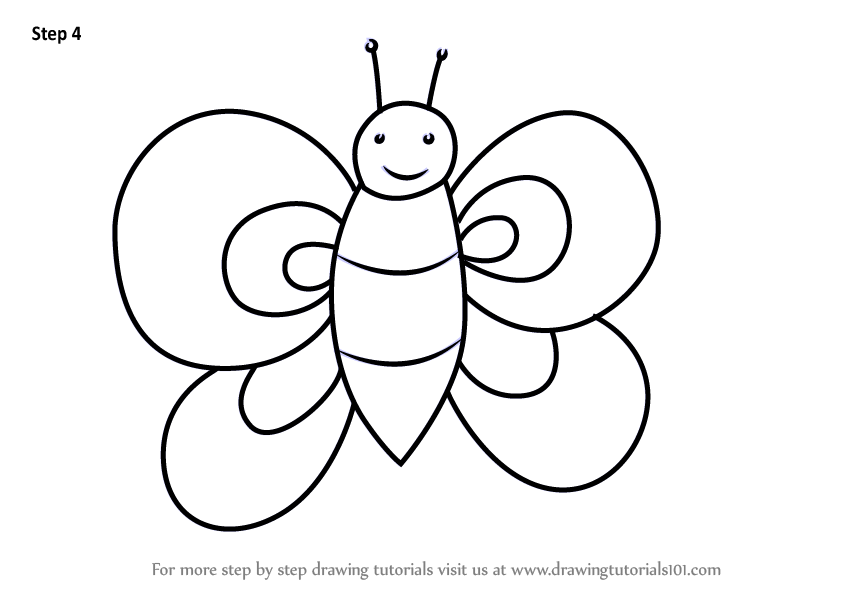 Learn How To Draw A Butterfly For Kids Animals For Kids Step By