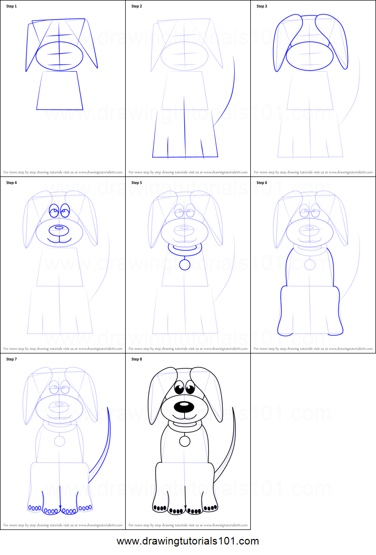 How To Draw Cartoon Dog Easy Printable Step By Step Drawing Sheet