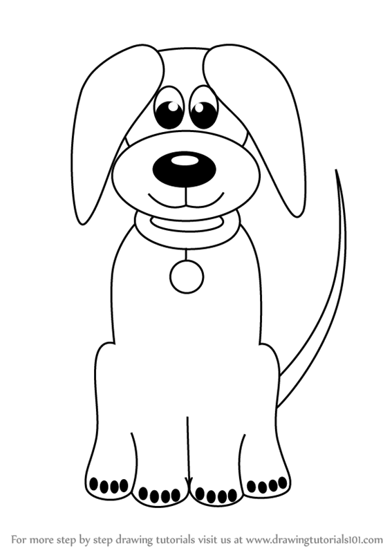 Learn How To Draw Cartoon Dog Easy Animals For Kids Step By Step