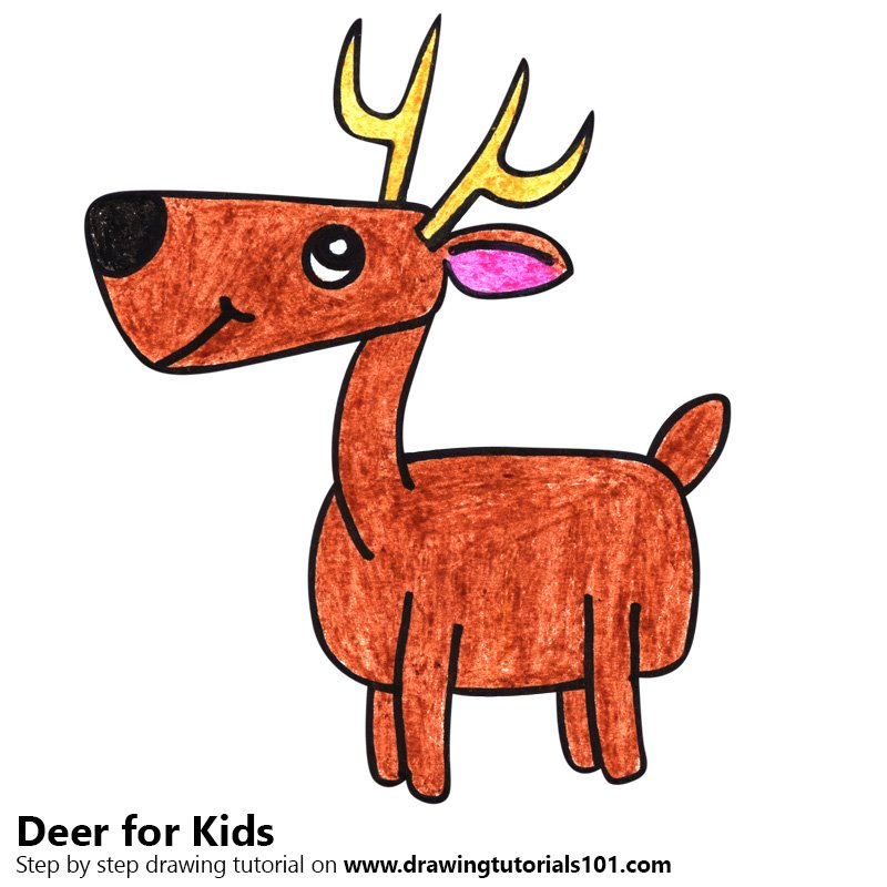 Learn How To Draw A Deer For Kids Animals For Kids Step By Step Drawing Tutorials