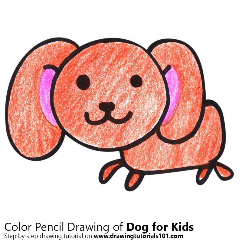 Dog for Kids Color Pencil Drawing